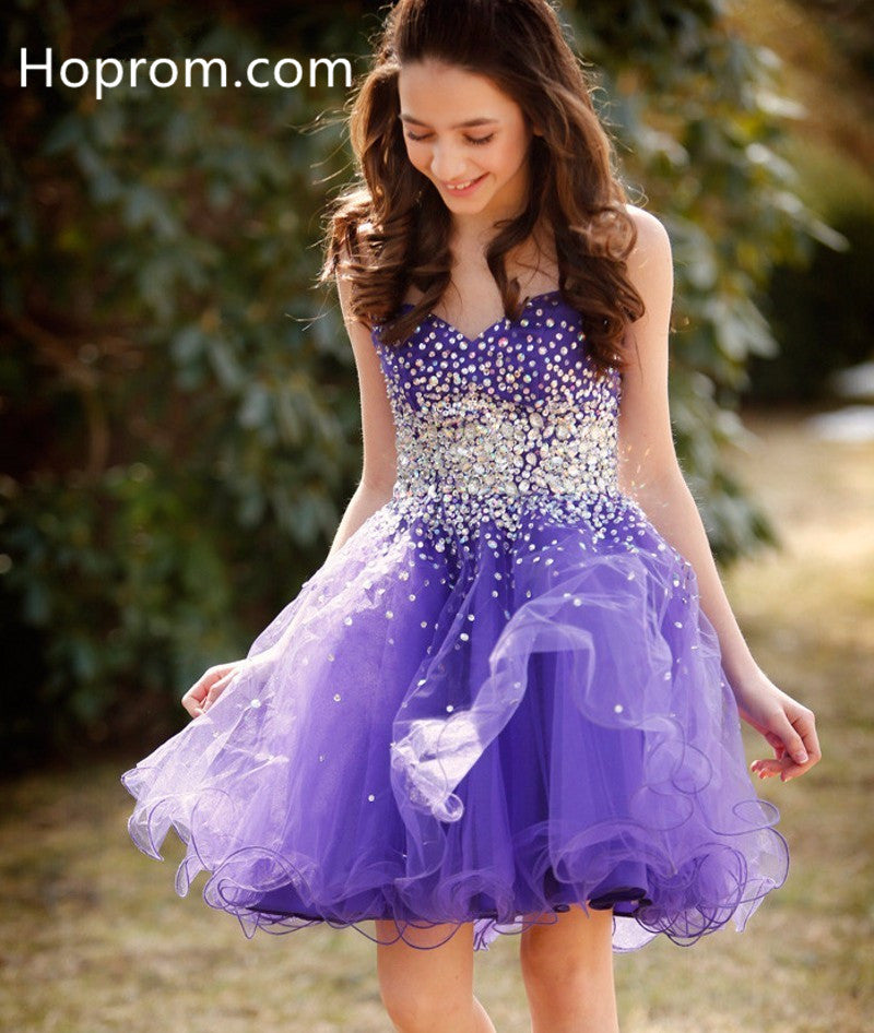 Girls Short Cocktail Dresses Lavender Purple Tulle Petite Dresses