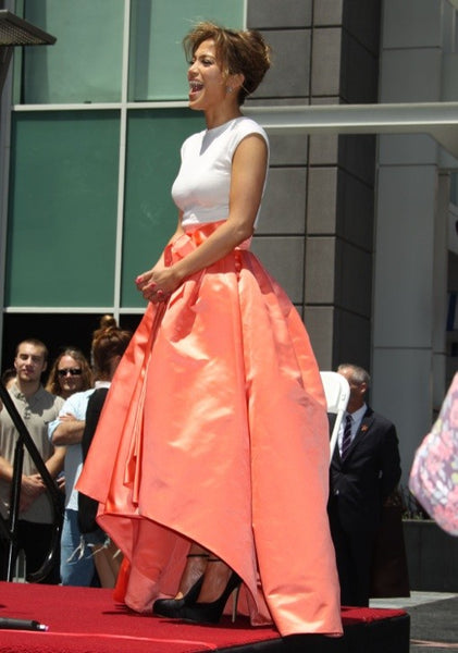 Orange White Jennifer Lopez (J.Lo) Sleeveless Bowknot Dress Satin Prom Celebrity Dress Hollywood Walk of Fame