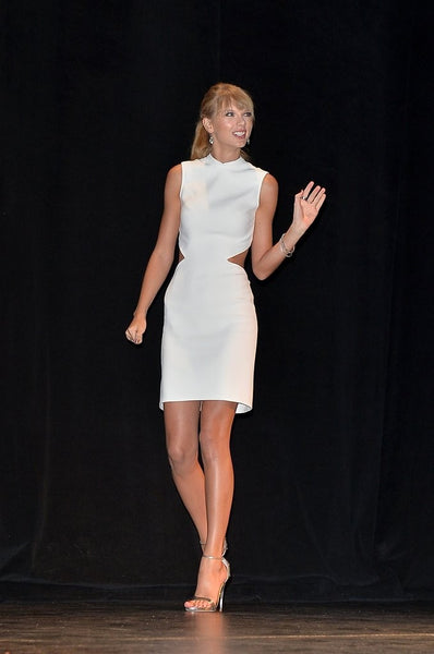 White Taylor Swift Short Cut Outs Dress Satin Sleeveless Prom Celebrity Dress Toronto Film Festival