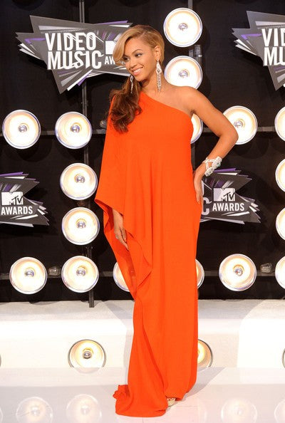 Orange Beyonce Knowles One Shoulder Gown Dress Prom Celebrity Evening Dress MTV Video Music Awards