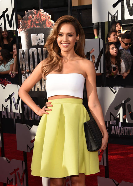 Two tone Jessica Alba Two piece A Line Party Dress Strapless Prom Red Carpet Evening Dress MTV Movie Awards