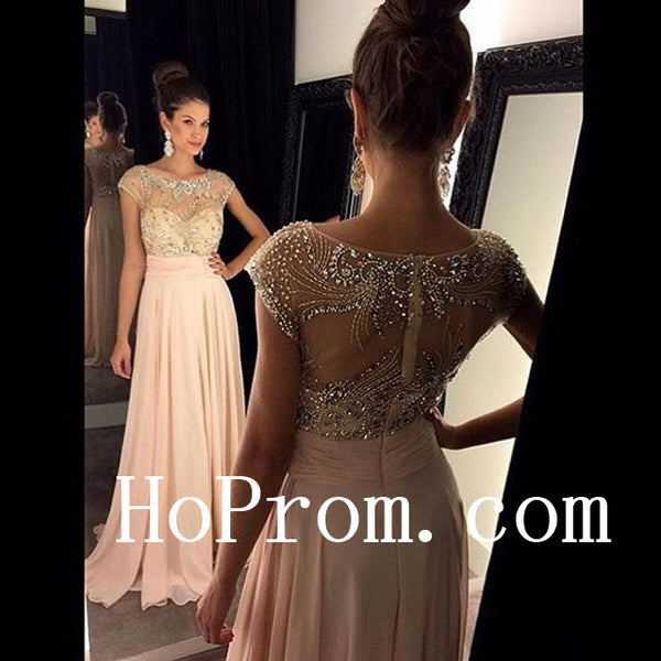 A-Line Pink Prom Dresses,Cap Sleeve Prom Dress,Evening Dress