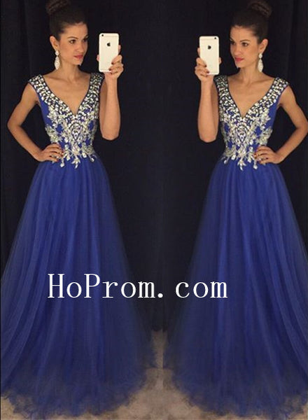 A-Line Blue Prom Dresses,V-Neck Prom Dress,Evening Dress
