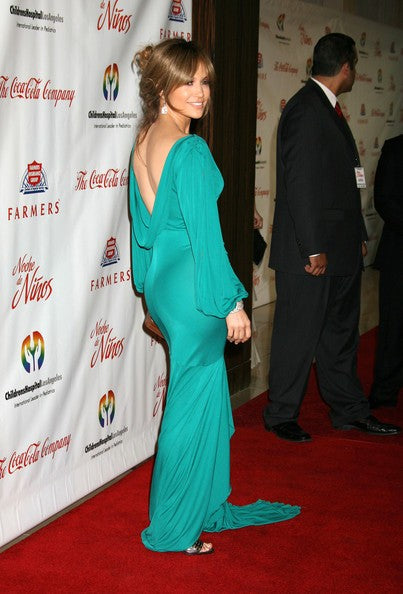 Blue Jennifer Lopez (J.Lo) Long Sleeves Fit Dress Flare Prom Celebrity Red Carpet Dress Noche de Ninos Gala