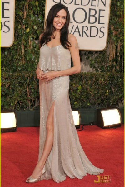 Grey Angelina Jolie Sequin Sparkly Slit Dress V Neck Prom Red Carpet Evening Celebrity Dress Golden Globes
