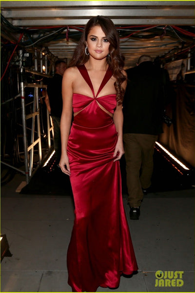 Red Selena Gomez Fit Flare Sexy V neck Dress Sleek Satin Prom Celebrity Dress Grammys