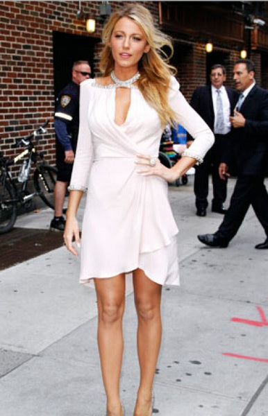 White Blake Lively Short Halter Dress Sequins Prom Celebrity Evening Dress Late Show With David Letterman