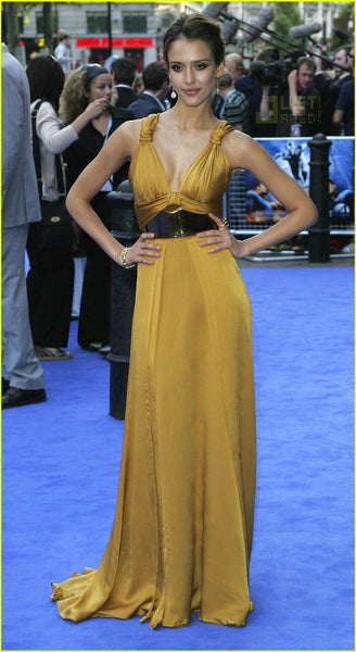 Gold Jessica Alba Satin Sexy V Neck Prom Celebrity Evening Dress Fantastic Four Rise Of The Silver Surfer' World Premiere