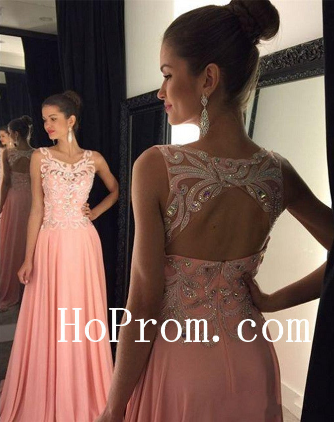 Backless Pink Prom Dresses,A-Line Prom Dress, Evening Dress