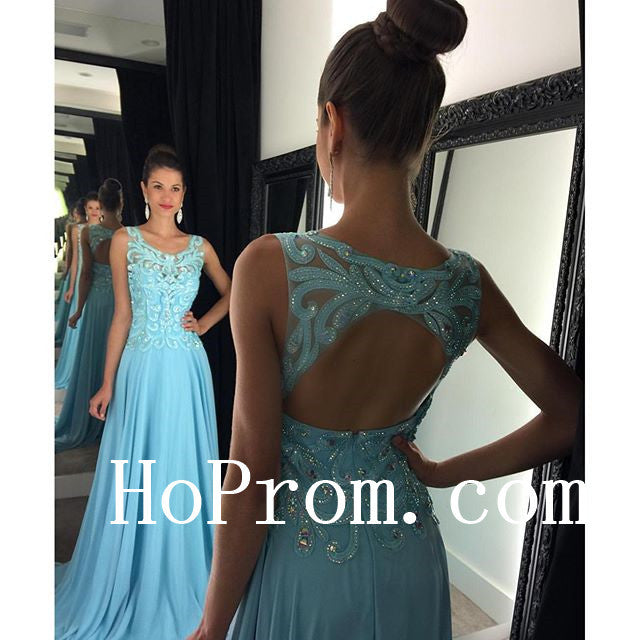 Backless Blue Prom Dresses,A-Line Prom Dress, Evening Dress