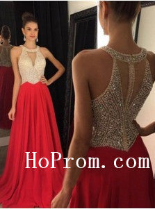 Halter Prom Dresses,A-Line Red Prom Dress, Long Evening Dress