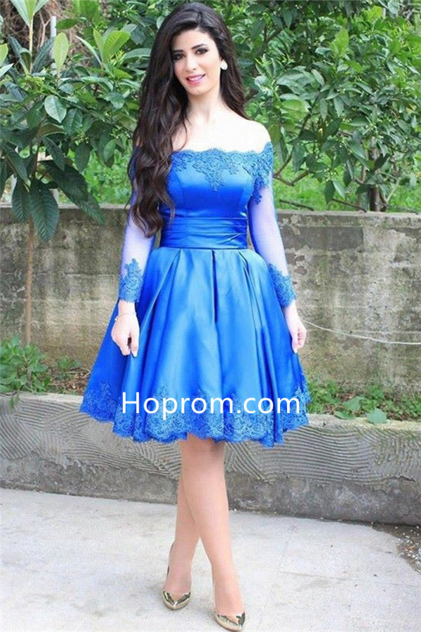 2020 Blue Appliques Long Sleeve Off-the-shoulder Homecoming Dress