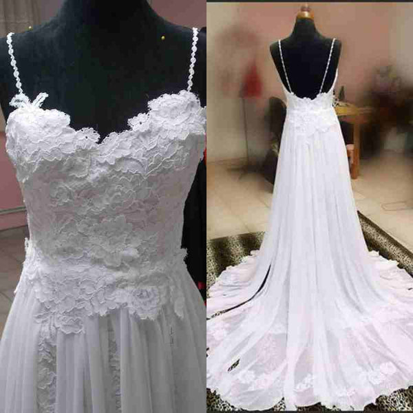 Spaghetti Straps Wedding Dress Bridal Gowns, Backless Lace Wedding Dress