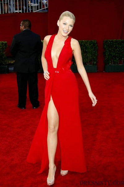Red Blake Lively Sexy Slit Low V Neck Dress Open Back Prom Best Red Carpet Evening Dress Emmys