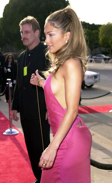 Pink Jennifer Lopez (J.Lo) Figure-hugging Dress Open Back Prom Celebrity Red Carpet Dress ALMA Awards