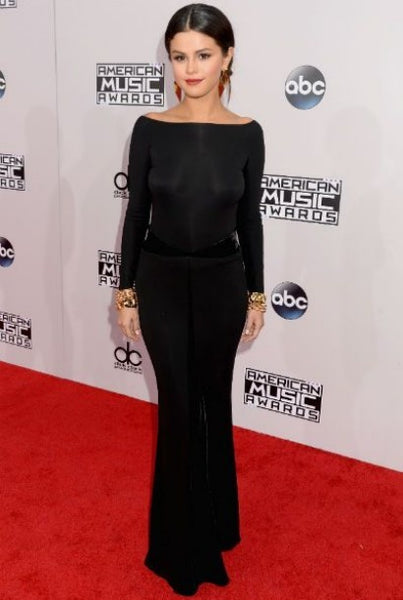 Black Selena Gomez Long Sleeves Open Back Dress Fit Flare Prom Best Red Carpet Dress AMA