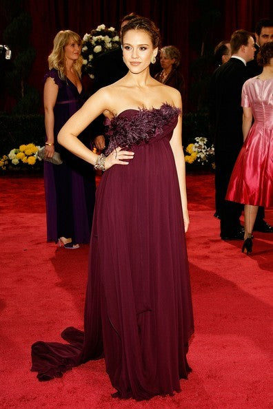 Grape Jessica Alba Strapless Chiffon Dress Open Back Prom Red Carpet Evening Dress Oscar Ceremony Gown