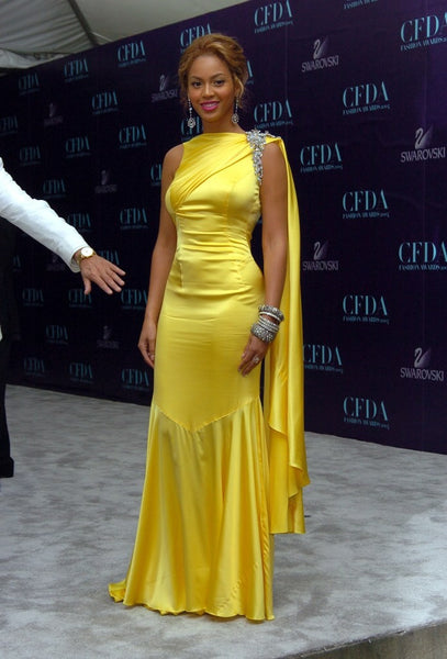 Yellow Beyonce Knowles Low Back Dress Satin Prom Celebrity Formal Dress CFDA Fashion Awards Online