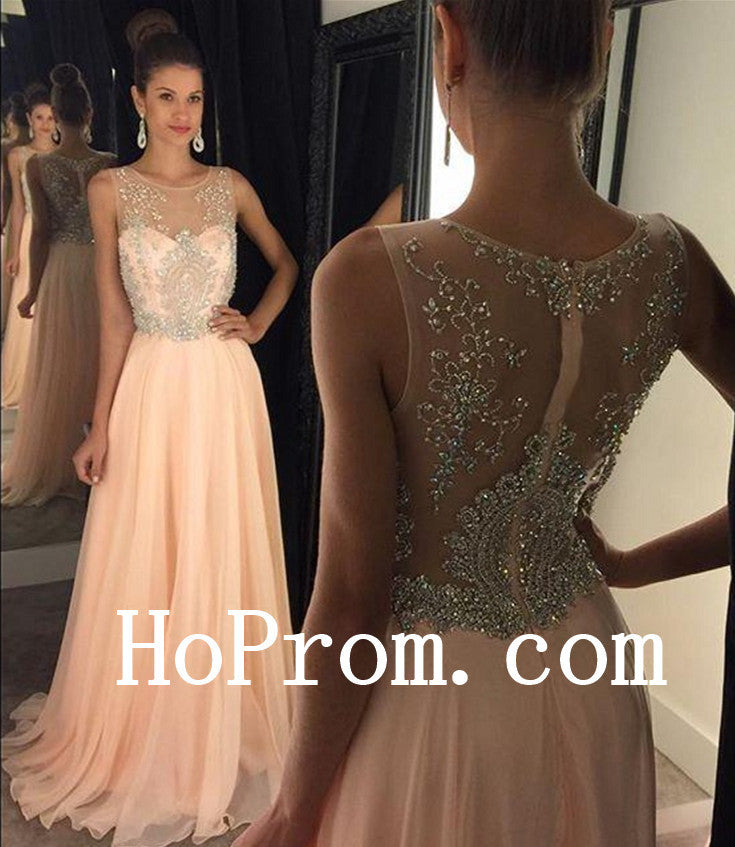 A-Line  Prom Dresses ,V-Neck Pink Prom Dress, Long Evening Dress