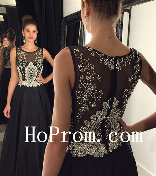 A-Line  Prom Dresses ,V-Neck Black Prom Dress, Long Evening Dress