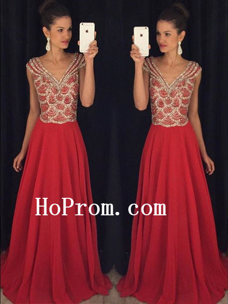 Red Chiffon Prom Dresses,Long Pom Dress,Chiffon Evening Dress