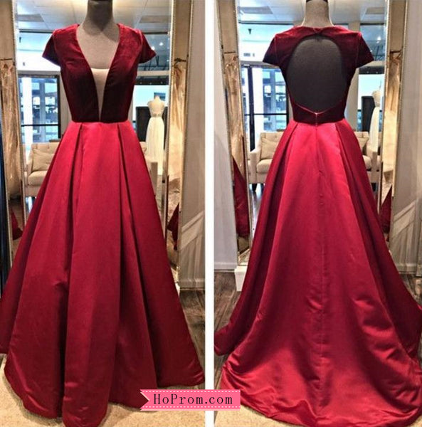 A Line Red Velvet Prom Dress with Open Back