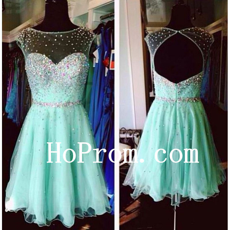 Mint Chiffon Prom Dress,Short Prom Dresses,Evening Dress