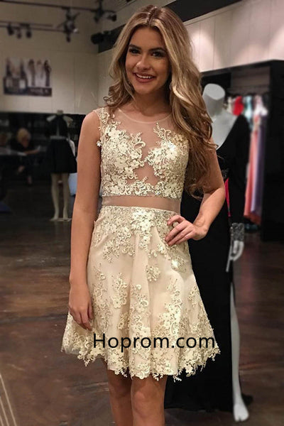 2020 Glamorous Sleeveless Appliques Tulle Homecoming Dress