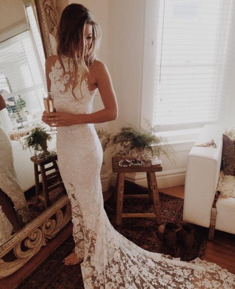 Elegant Halter Lace Bodice Wedding Bridal Dress