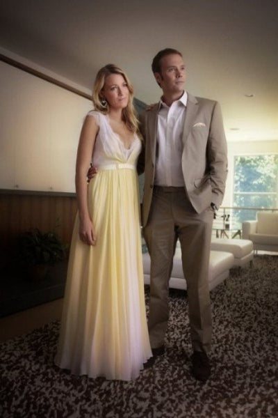 Yellow Blake Lively V Neck lace Prom Celebrity Formal Dress Serena van der Woodsen Dress Gossip Girl Season