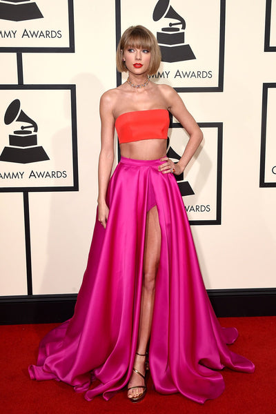 Pink Orange Taylor Swift Stain Dress Two Piece Slit Prom Red Carpet Dress Grammys