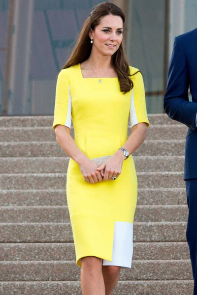 Yellow White Princess Kate Middleton Half Sleeves Cocktail Dress Knee Length Prom Celebrity Formal Dress Arrive in Australia