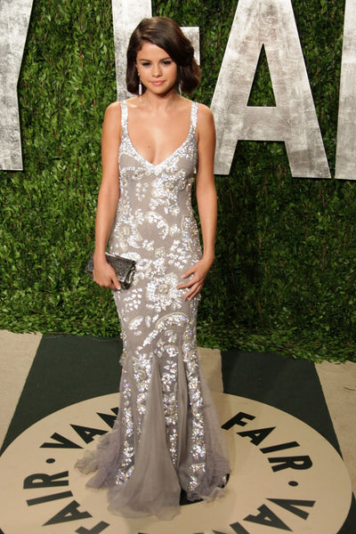 Silver Selena Gomez Straps V Neck Mermaid Dress Sequins Prom Celebrity Dress Vanity Fair Oscar Party