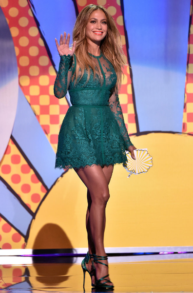 Green Jennifer Lopez (J.Lo) Short Lace Dress Long Sleeves Prom Celebrity Dress Teen Choice awards 2014