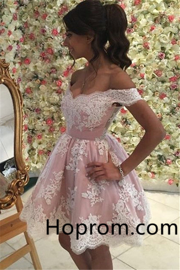 2020 Appliques Off-the-Shoulder A-Line Homecoming Dress