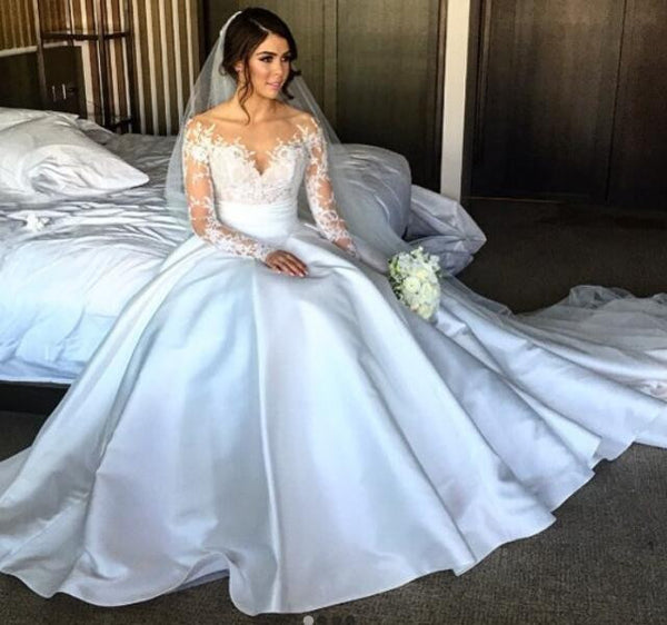 Elegant Full Lace Split Wedding Bridal Dresses with Detachable Satin Skirt