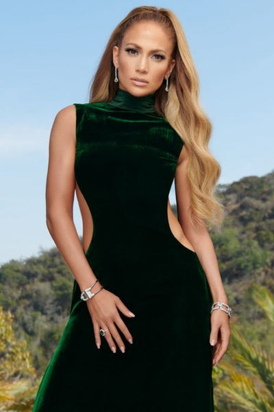 Green Jennifer Lopez (JLo) High Neck Dress Cut Out Velvet Prom Celebrity Dress InStyle Magazine