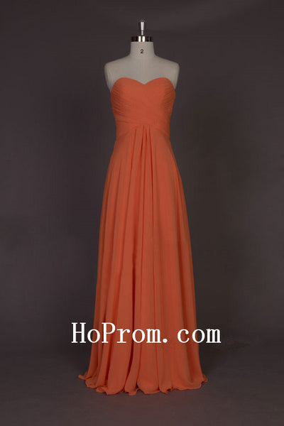 A-Line Chiffon Prom Dress,Long Orange Prom Dresses,Evening Dress