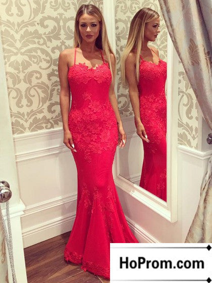 Spaghetti Straps Red Lace Prom Dress Evening Dresses