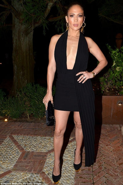 Black Jennifer Lopez (JLo) Halter Dress Cocktail Prom Party Celebrity Dress For Sale