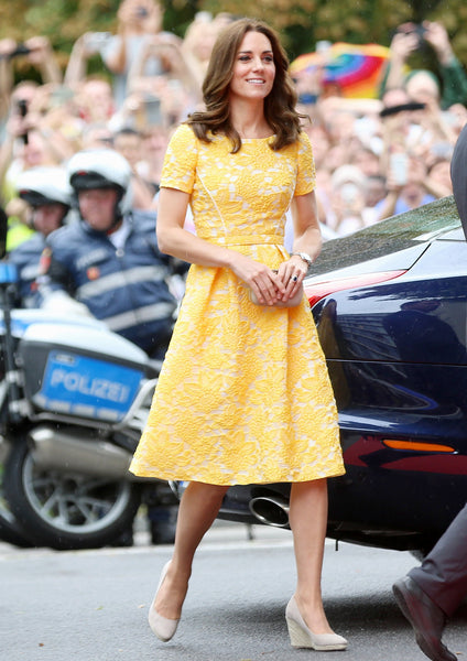Yellow Princess Kate Middleton Lace Fit Dress Flare Knee Length Prom Celebrity Formal Dress In Germany