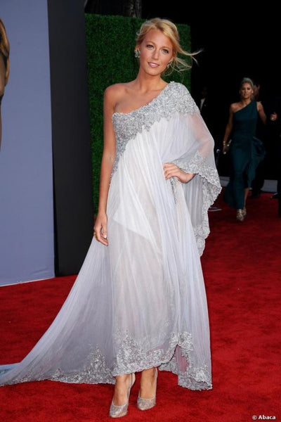 Grey Blake Lively One Shoulder Dress Best Prom Red Carpet Evening formal Dress BAFTA