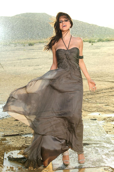 Grey Selena Gomez Tie Halter Chiffon Dress Pleated Prom Celebrity Evening Dress A Year Without Rain