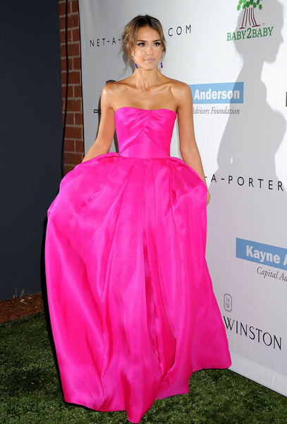 Fuchsia Jessica Alba Strapless A Line Dress Satin Prom Celebrity Formal Evening Dress Baby2Baby Gala