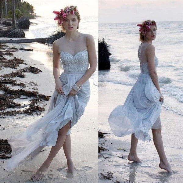 Lace Chiffon Wedding Bridal Dress, Beach Wedding Party Dress