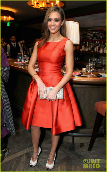 Red Jessica Alba Square Neck Fit Party Dress Flare prom V-Day Cocktails Conversation Celebrity Formal Dress