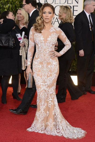 White Jennifer Lopez (JLo) Figure-hugging Dress Applique Prom Formal Dress Golden Globes Red Carpet