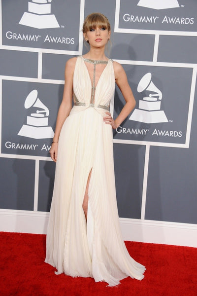 White Taylor Swift Sexy Sequins Dress Open Back Pleated Prom Red Carpet Dress Grammys