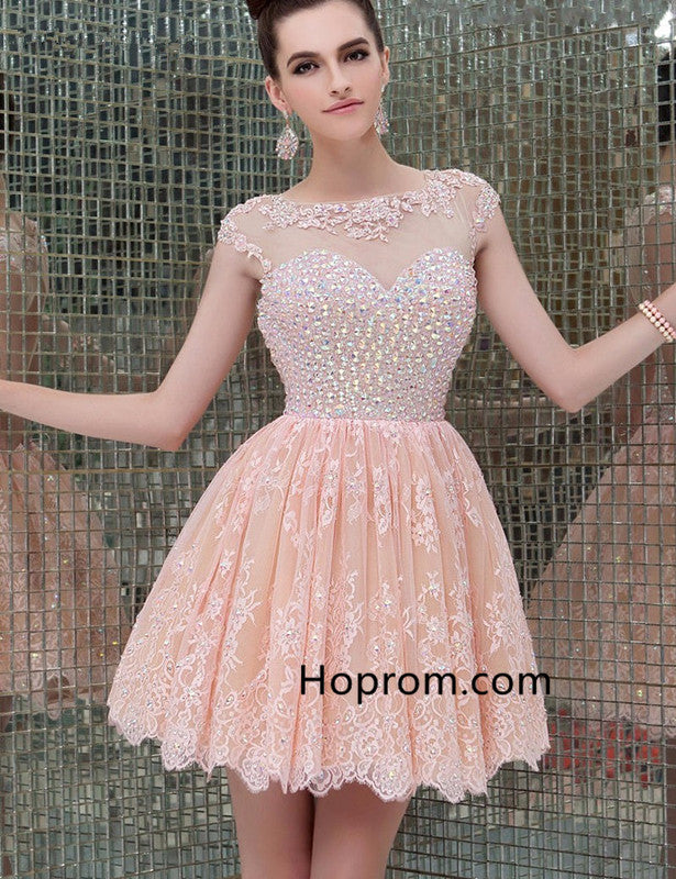 A-Line Lace Homecoming Dresses Vestidos Cortos Open Back Party Dress ...