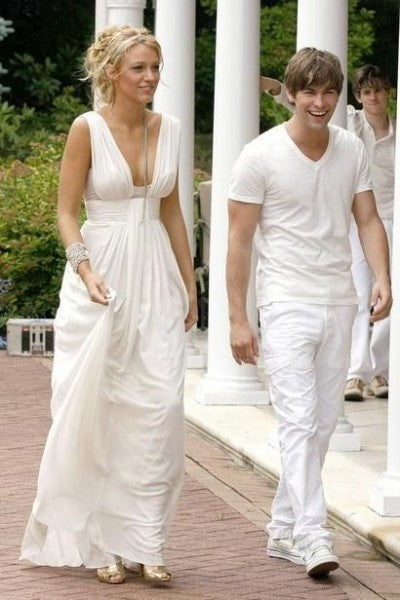 White Blake Lively Empire Waist Prom Celebrity Formal Dress Serena Van der Woodsen Gossip Girl